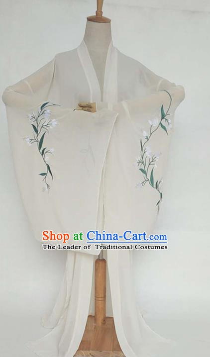 China Tang Dynasty Palace Lady Costume Ancient Princess Embroidered Willow Leaf Cardigan for Women