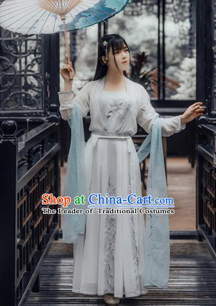Ancient China Jin Dynasty Young Lady Embroidered Dress Costume for Women