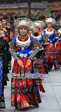 Traditional Chinese Miao Minority Nationality Wedding Costume and Headwear Complete Set for Women