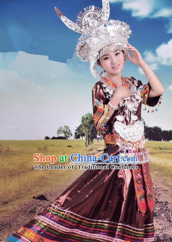 Traditional Chinese Miao Minority Nationality Wedding Embroidered Costume and Headwear Complete Set for Women