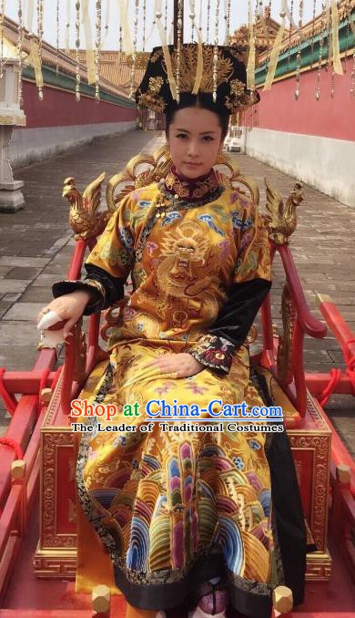 Chinese Qing Dynasty Empress Xiaohuizhang Historical Costume Ancient Manchu Queen of Shunzhi Clothing for Women