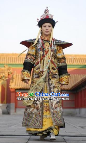 Chinese Qing Dynasty Last Queen Mother Historical Costume Ancient Empress Dowager Cixi Clothing for Women
