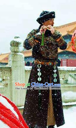 Chinese Ancient Qing Dynasty Manchu Prince Regent Dorgon Historical Costume Royal Highness Clothing for Men