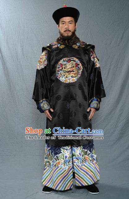 Chinese Qing Dynasty Minister Oboi Historical Costume Ancient Manchu General Clothing for Men