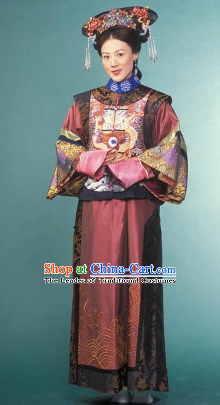 Chinese Ancient Qing Dynasty Imperial Concubine Manchu Dress Historical Costume for Women