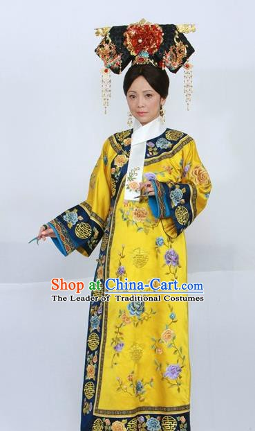 Chinese Ancient Qing Dynasty Qianlong Empress Replica Costumes Manchu Queen Dress Historical Costume for Women