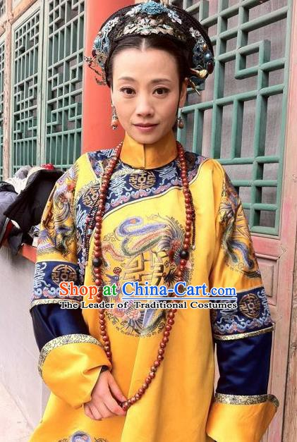 Chinese Ancient Qing Dynasty Imperial Concubine Duan Replica Costumes Manchu Dress Historical Costume for Women