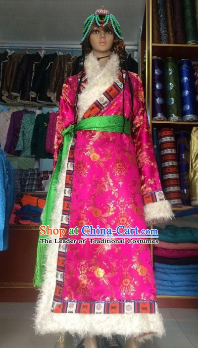 Chinese Tibetan Nationality Costume Pink Tibetan Robe, Traditional Zang Ethnic Minority Dress for Women