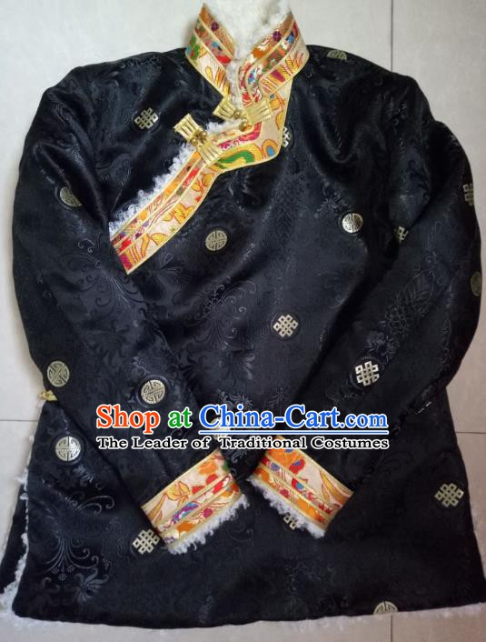 Traditional Chinese Zang Nationality Costume Cotton-padded Jacket, Tibetan Ethnic Minority Shirt for Men