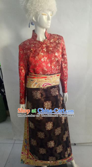 Chinese Tibetan Nationality Costume Red Tibetan Robe, Traditional Zang Ethnic Minority Clothing for Women