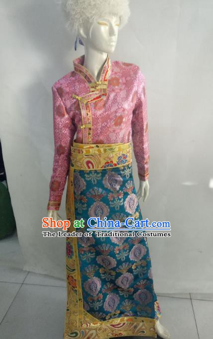Chinese Tibetan Nationality Costume Pink Tibetan Robe, Traditional Zang Ethnic Minority Clothing for Women