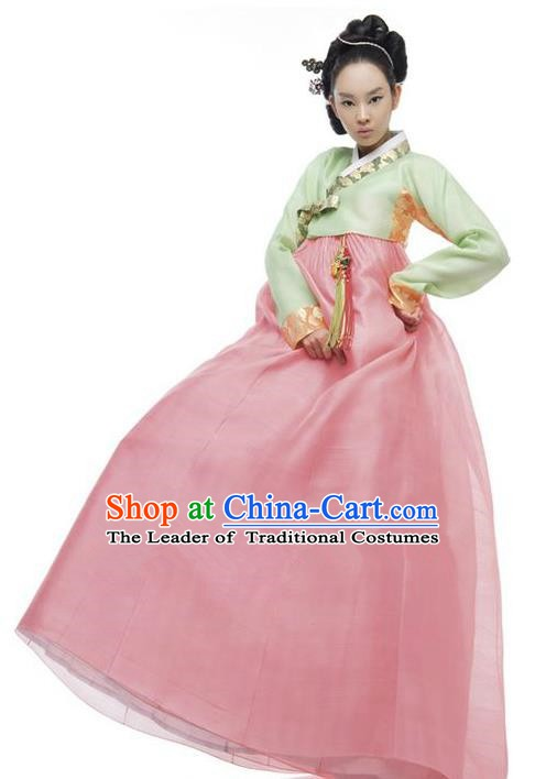 Korean Traditional Bride Hanbok Clothing Green Blouse and Light Pink Skirt Korean Fashion Apparel Costumes for Women