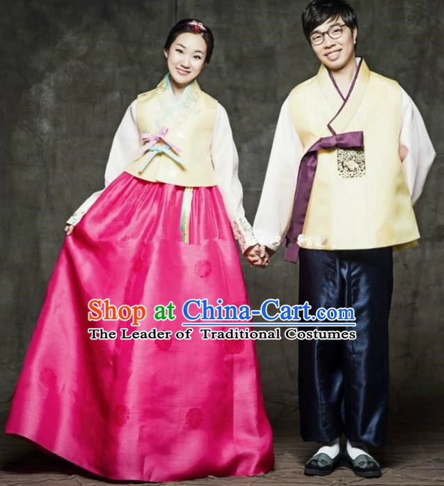 Korean Traditional Bride and Bridegroom Hanbok Clothing Korean Fashion Apparel Costumes Complete Set