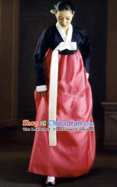 Korean Traditional Bride Palace Hanbok Clothing Navy Blouse and Pink Dress Korean Fashion Apparel Costumes for Women