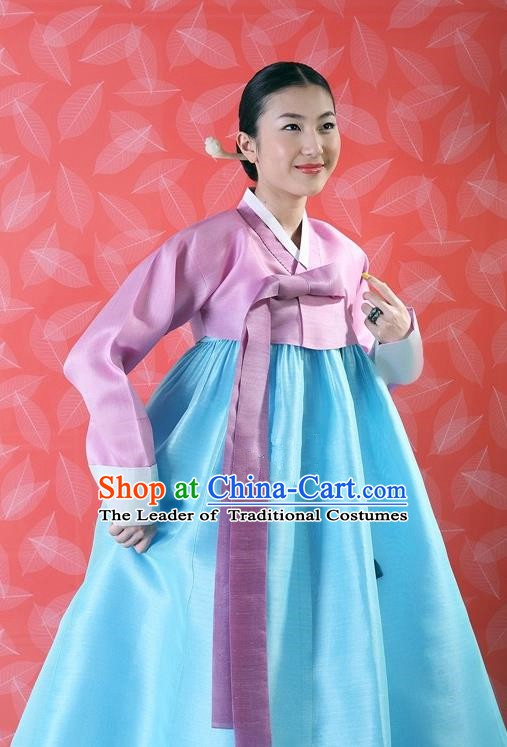 Korean Traditional Bride Palace Hanbok Clothing Pink Blouse and Blue Dress Korean Fashion Apparel Costumes for Women