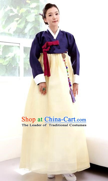 Korean Traditional Bride Palace Hanbok Clothing Purple Blouse and Yellow Dress Korean Fashion Apparel Costumes for Women