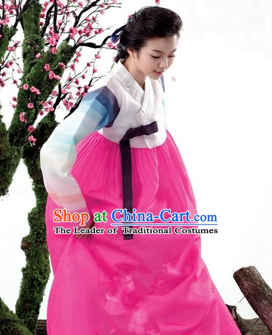Korean Traditional Bride Palace Hanbok Clothing Korean Fashion Apparel White Blouse and Rosy Dress for Women