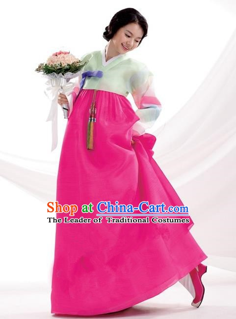 Korean Traditional Bride Palace Hanbok Clothing Korean Fashion Apparel Green Blouse and Rosy Dress for Women