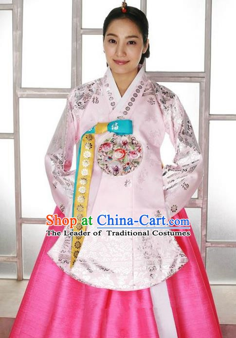 Korean Traditional Palace Empress Pink Hanbok Clothing Korea Fashion Apparel Dress for Women
