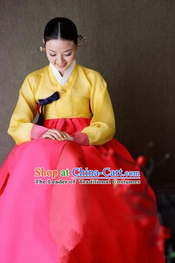 Korean Traditional Palace Clothing Hanbok Yellow Blouse and Red Dress Korea Fashion Apparel for Women