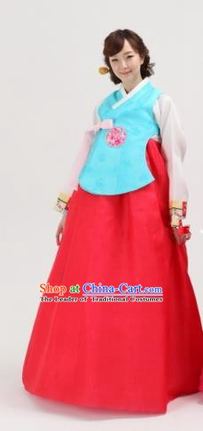 Korean Traditional Palace Clothing Hanbok Blue Vests for Women