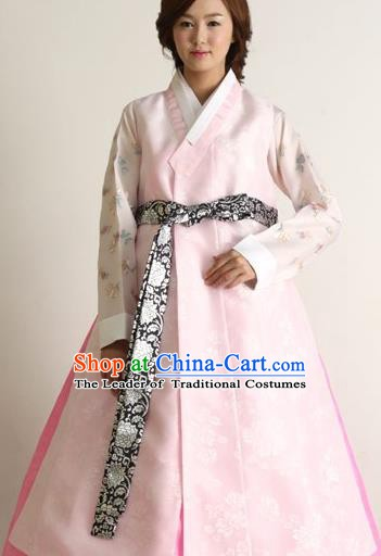 Korean Traditional Palace Clothing Hanbok Fashion Apparel Pink Long Vest for Women