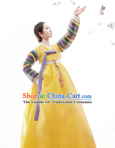 Korean Traditional Palace Clothing Hanbok Fashion Apparel Yellow Dress for Women