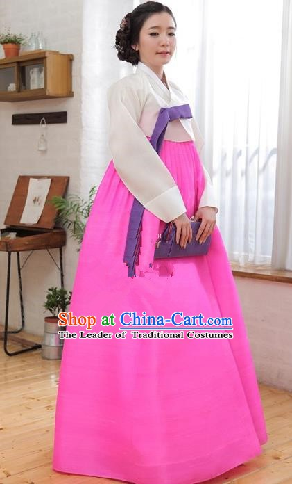 Korean Traditional Palace Garment Hanbok Fashion Apparel Costume White Blouse and Pink Dress for Women