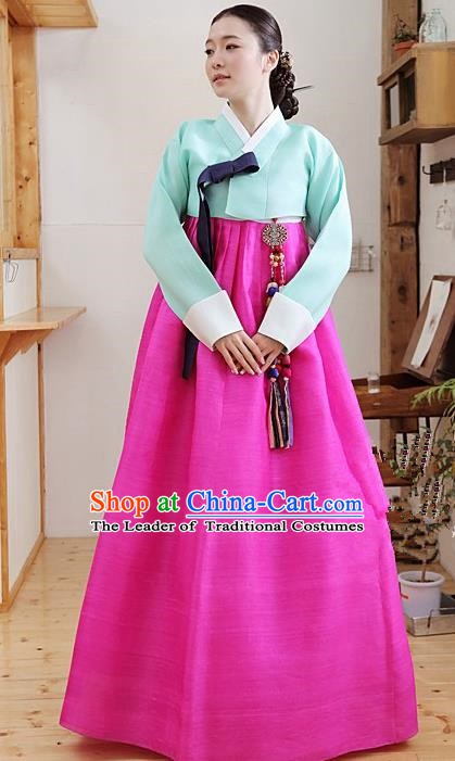 Korean Traditional Palace Garment Hanbok Fashion Apparel Costume Green Blouse and Rosy Dress for Women