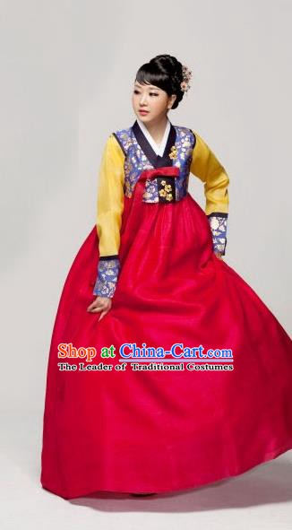Korean Traditional Palace Garment Hanbok Fashion Apparel Costume Bride Red Dress for Women
