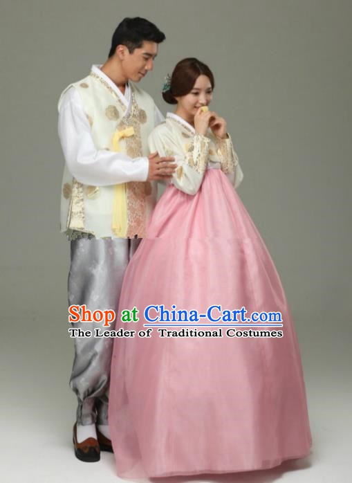 Korean Traditional Garment Palace Hanbok Fashion Apparel Costume Bride White Blouse and Pink Dress for Women