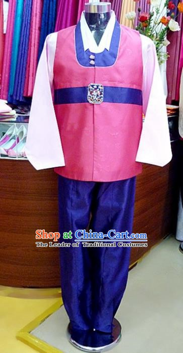 Asian Korean Traditional Hanbok Clothing Ancient Korean Rosy Shirt and Royalblue Pants Costume for Men