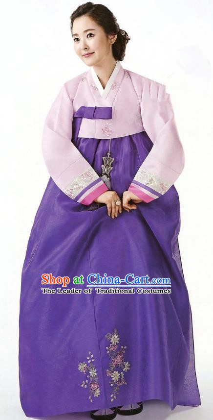 Korean Traditional Garment Palace Hanbok Pink Blouse and Purple Dress Fashion Apparel Bride Costumes for Women
