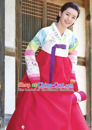 Korean Traditional Garment Palace Hanbok White Blouse and Rosy Dress Fashion Apparel Bride Costumes for Women