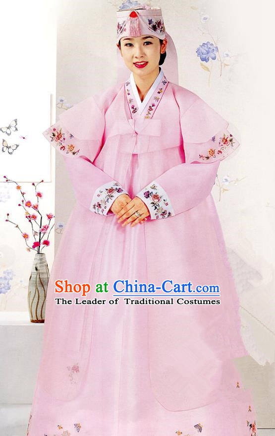 Korean Traditional Garment Palace Hanbok Wedding Pink Dress Fashion Apparel Bride Costumes for Women