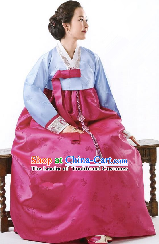 Korean Traditional Handmade Palace Hanbok Blue Blouse and Rosy Dress Fashion Apparel Bride Costumes for Women