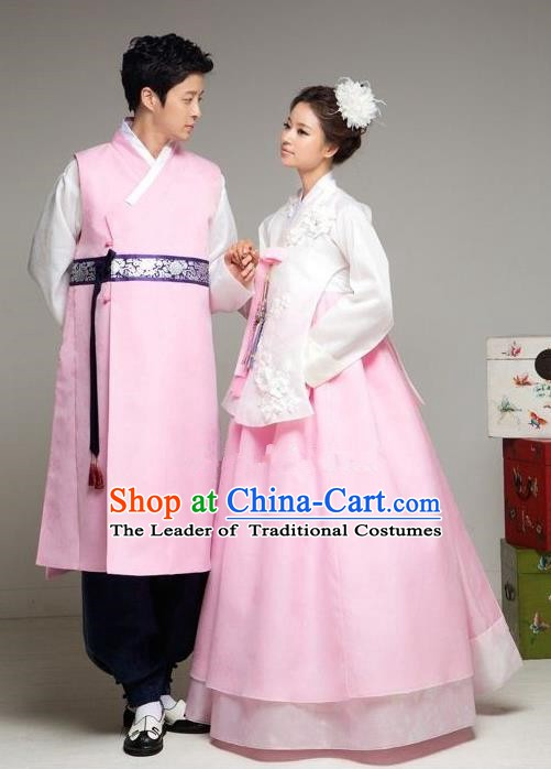 Asian Korean Traditional Palace Pink Hanbok Clothing Ancient Korean Bride and Bridegroom Costumes Complete Set