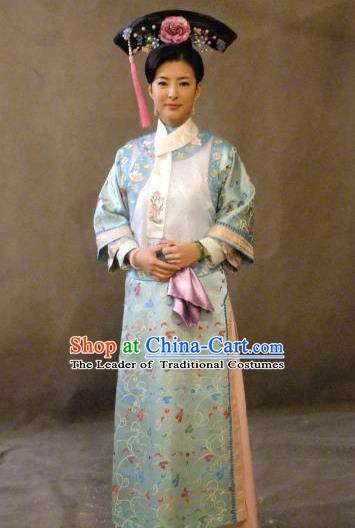 Chinese Ancient Qing Dynasty Dress Manchu Imperial Concubine Embroidered Costume for Women