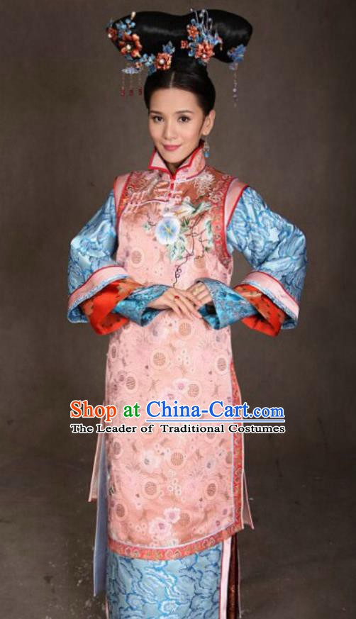 Chinese Ancient Qing Dynasty Manchu Imperial Concubine Jing Embroidered Costume for Women