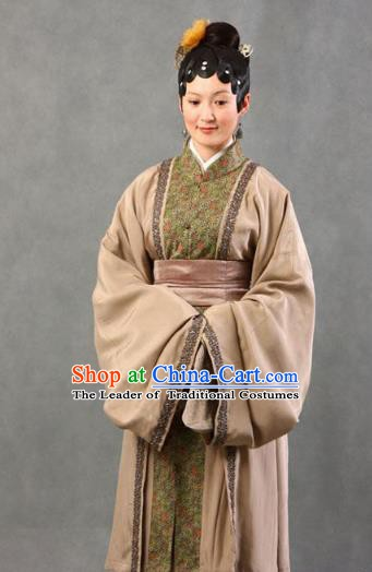 Chinese Ancient A Dream in Red Mansions Character Widow Li Wan Costume for Women