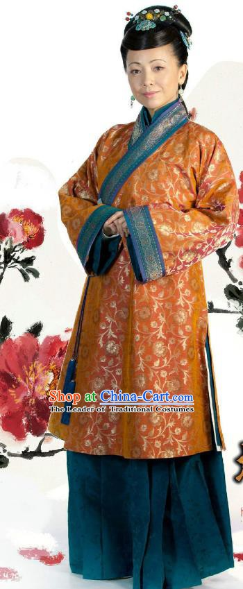 Ancient Chinese Ming Dynasty Historical Costume Dowager Countess Replica Costume for Women