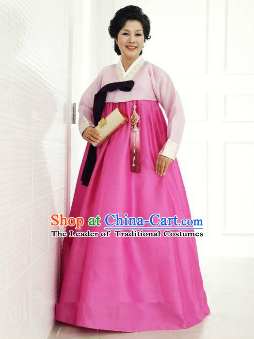 Top Grade Korean Hanbok Traditional Hostess Pink Blouse and Rosy Dress Fashion Apparel Costumes for Women