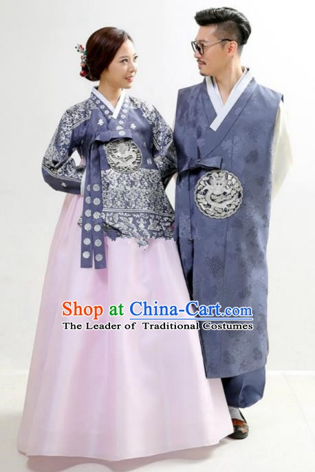 Asian Korean Traditional Wedding Embroidered Hanbok Ancient Korean Bride and Bridegroom Costumes Complete Set