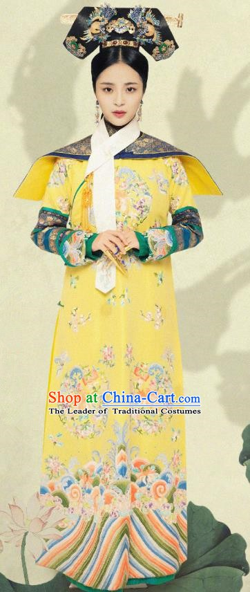 Chinese Qing Dynasty Manchu Empress Embroidered Dress Ancient Queen Replica Costume for Women