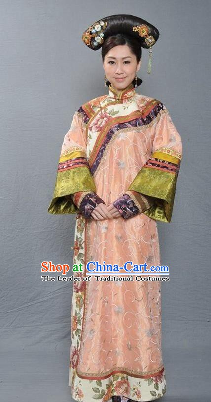 Chinese Ancient Qing Dynasty Manchu Imperial Concubine Hua Embroidered Dress Costume for Women