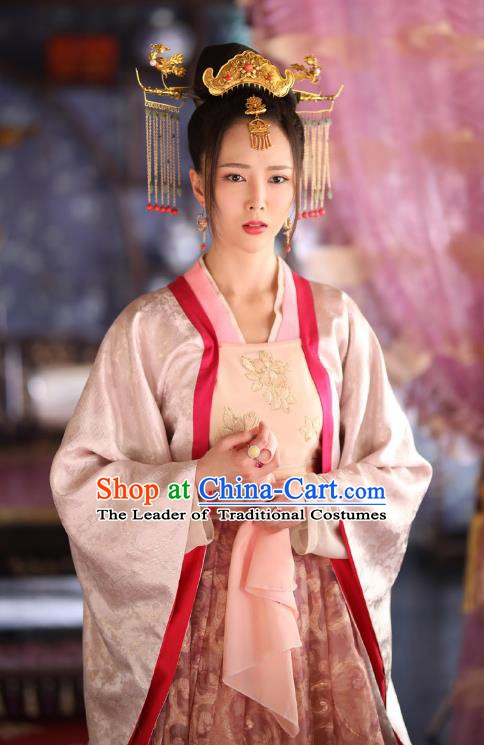 Chinese Ancient Ming Dynasty Princess Embroidered Dress Costume and Headpiece Complete Set for Women