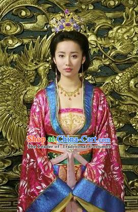 Chinese Ancient Ming Dynasty Imperial Empress Embroidered Dress Costume and Headpiece Complete Set for Women