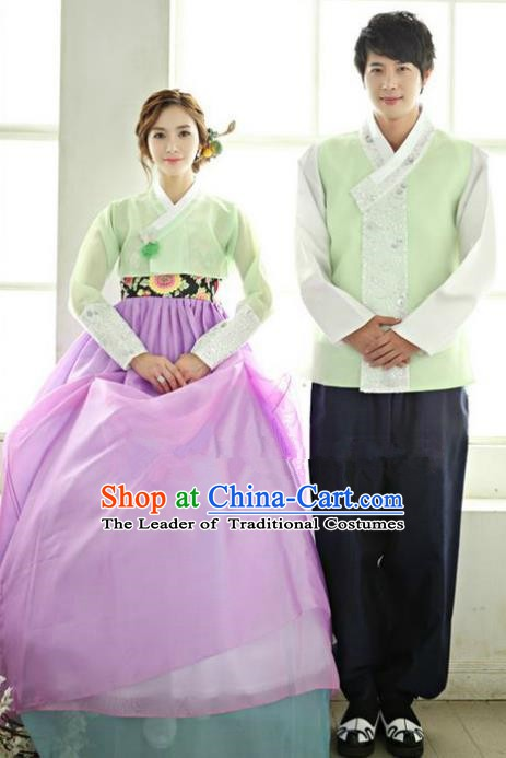 Asian Korean Traditional Costume Ancient Bridegroom and Bride Hanbok Complete Set