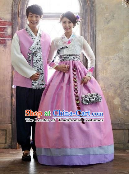 Asian Korean Traditional Pink Costume Ancient Bridegroom and Bride Hanbok Complete Set