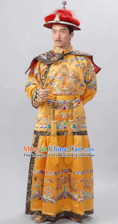 Traditional Chinese Ancient Emperor Yongzheng Qing Dynasty Manchu Majesty Costume Imperial Robe for Men